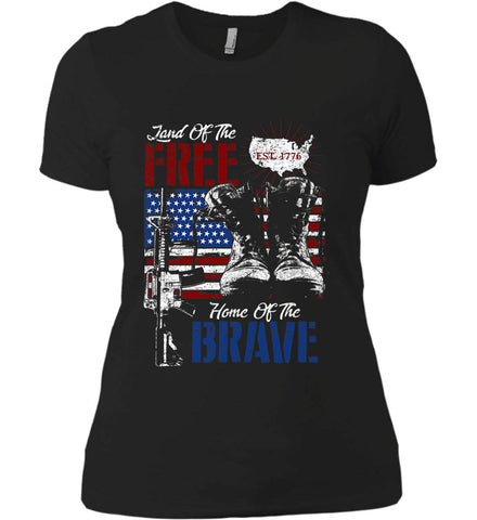 Land Of The Free. Home Of The Brave. 1776. Women's: Next Level Ladies' Boyfriend (Girly) T-Shirt.