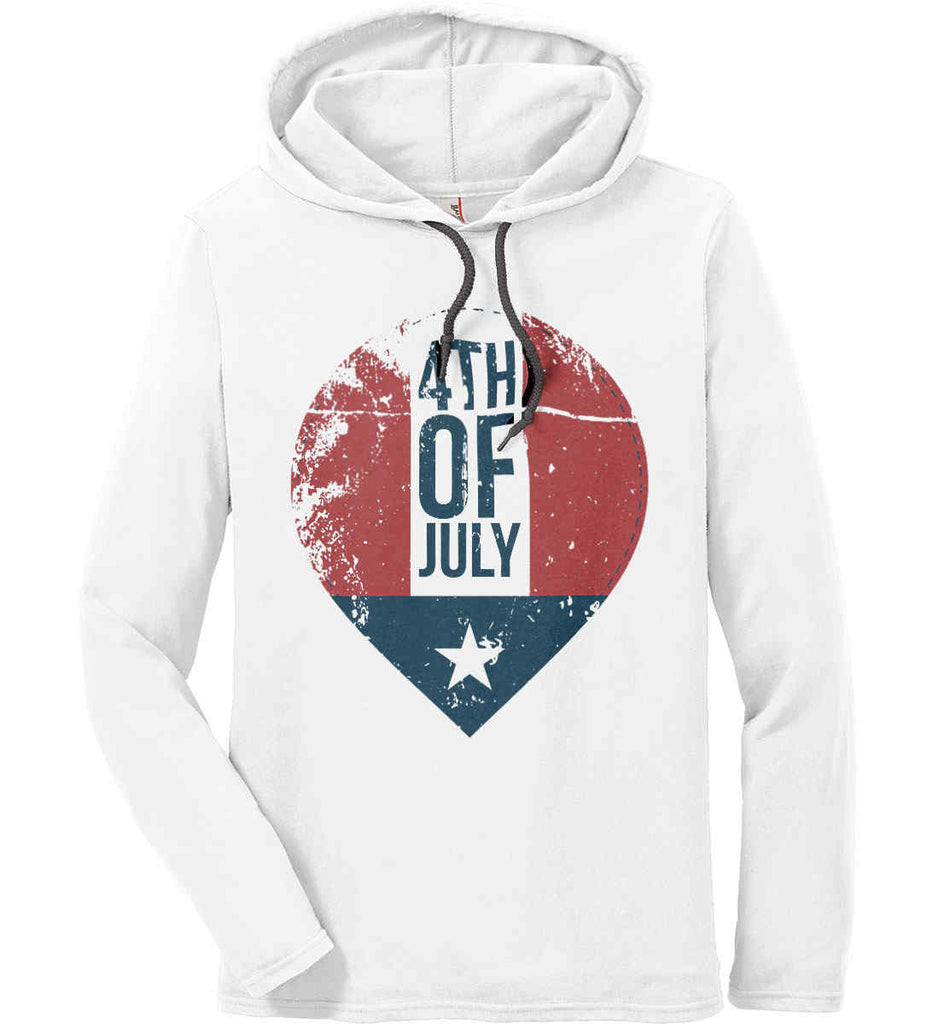 4th of July with Star. Anvil Long Sleeve T-Shirt Hoodie.-1