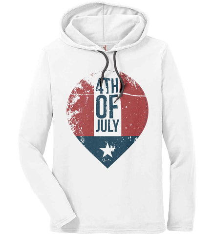 4th of July with Star. Anvil Long Sleeve T-Shirt Hoodie.