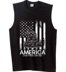 America. Live Free or Die. Don't Tread on Me. White Print. Gildan Men's Ultra Cotton Sleeveless T-Shirt.