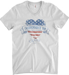 Independence Day. July, 4 1776. Anvil Men's Printed V-Neck T-Shirt.