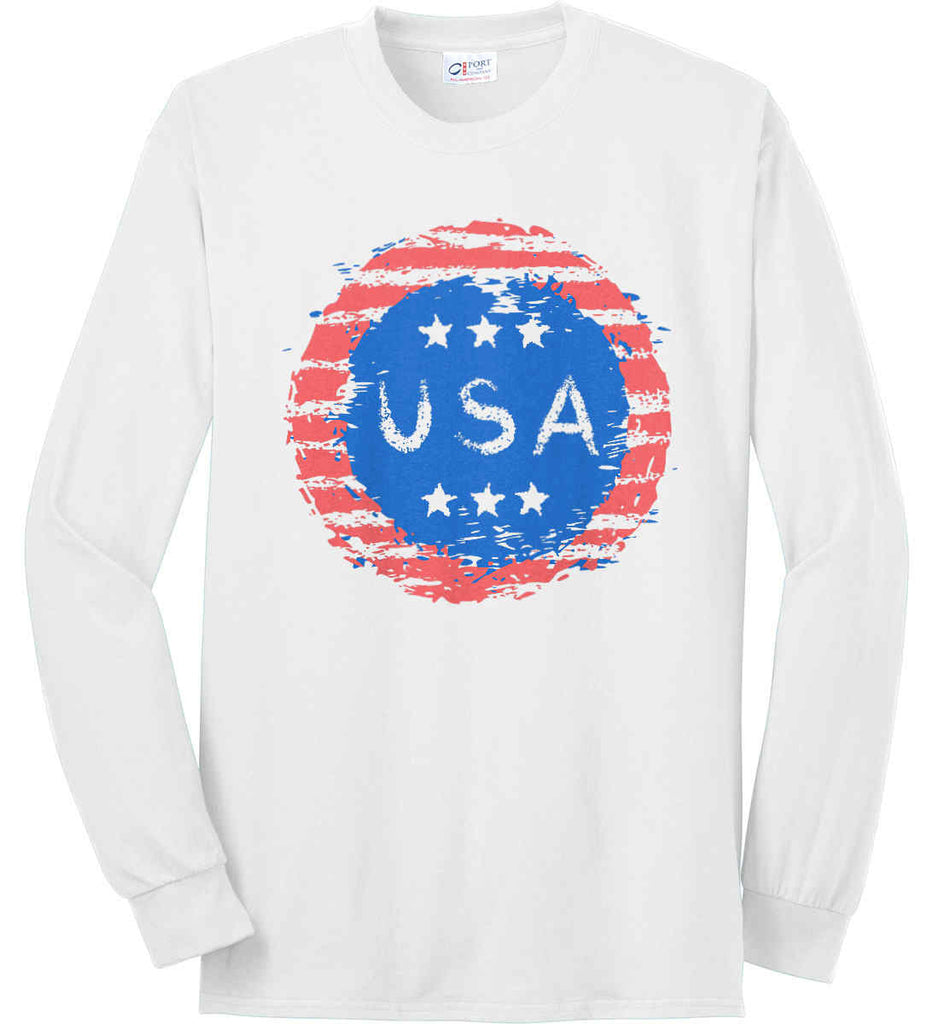 Grungy USA. Port & Co. Long Sleeve Shirt. Made in the USA..-1