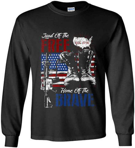 Land Of The Free. Home Of The Brave. 1776. Gildan Ultra Cotton Long Sleeve Shirt.