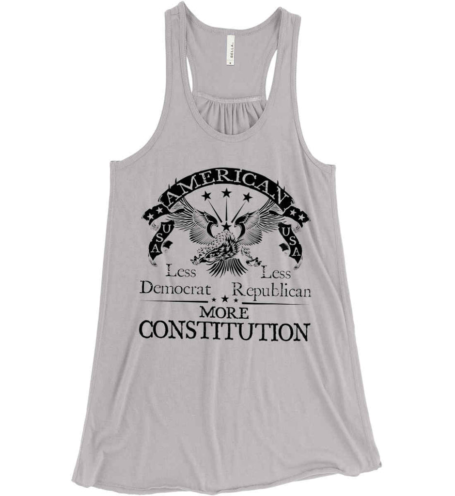 America: Less Democrat - Less Republican. More Constitution. Black Print Women's: Bella + Canvas Flowy Racerback Tank.-2