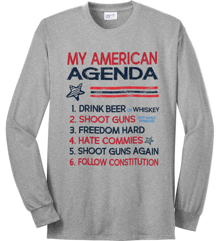 My American Agenda. Port & Co. Long Sleeve Shirt. Made in the USA..-2