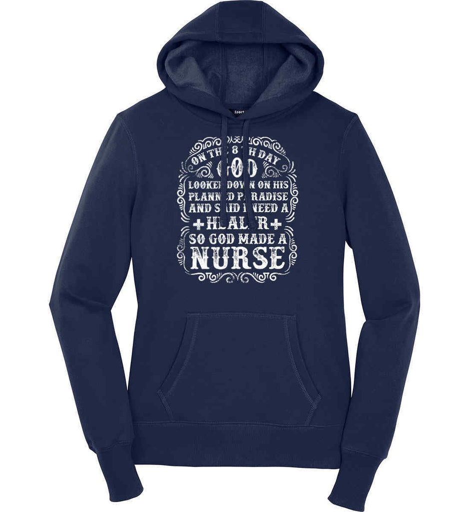 On The 8th Day God Made a Nurse. Women's: Sport-Tek Ladies Pullover Hooded Sweatshirt.-5