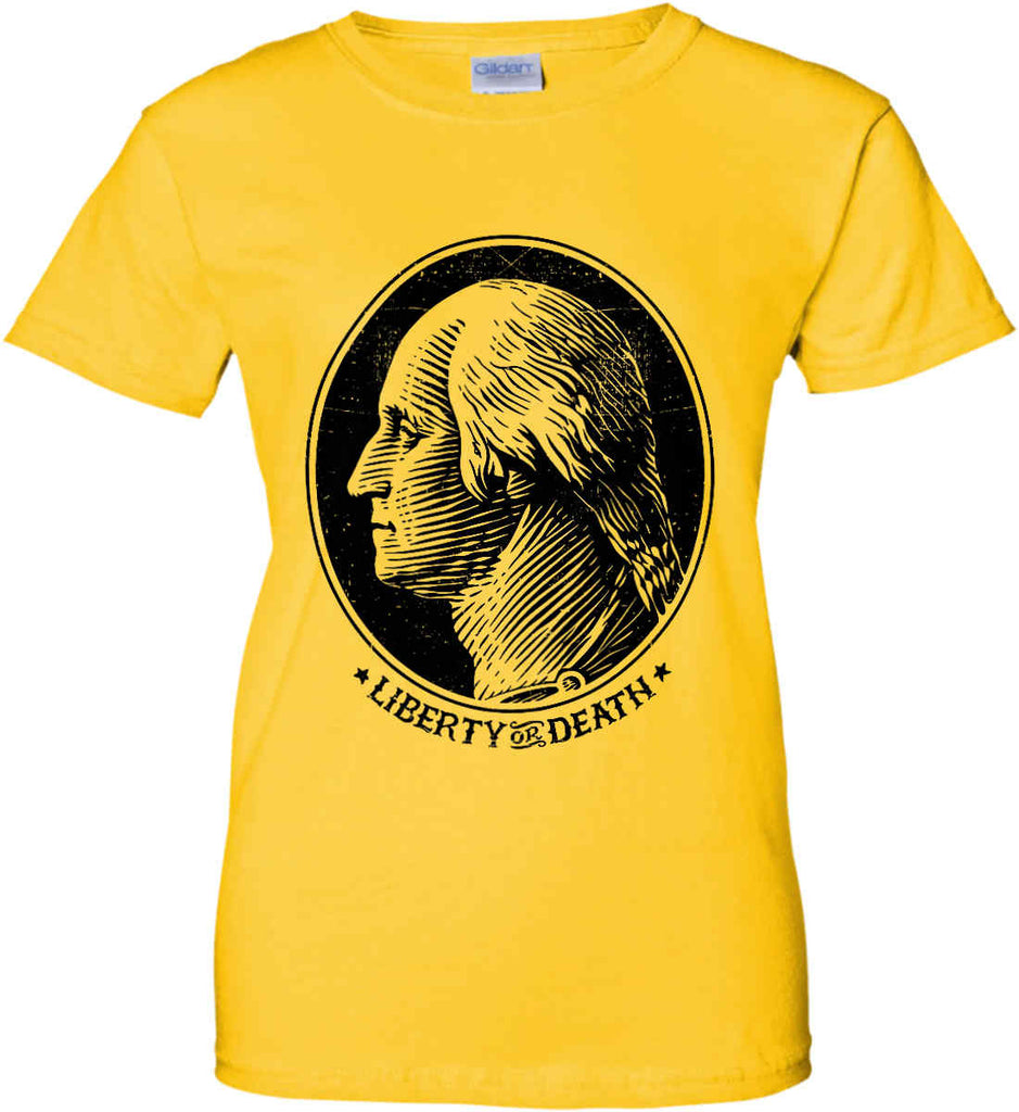 George Washington Liberty or Death. Black Print Women's: Gildan Ladies' 100% Cotton T-Shirt.-3