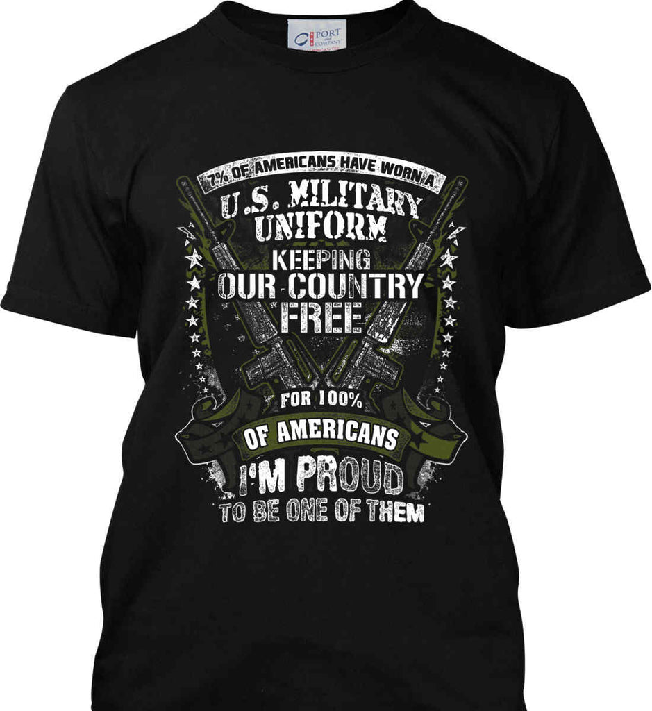 7% of Americans Have Worn a Military Uniform. I am proud to be one of them. Port & Co. Made in the USA T-Shirt.-1