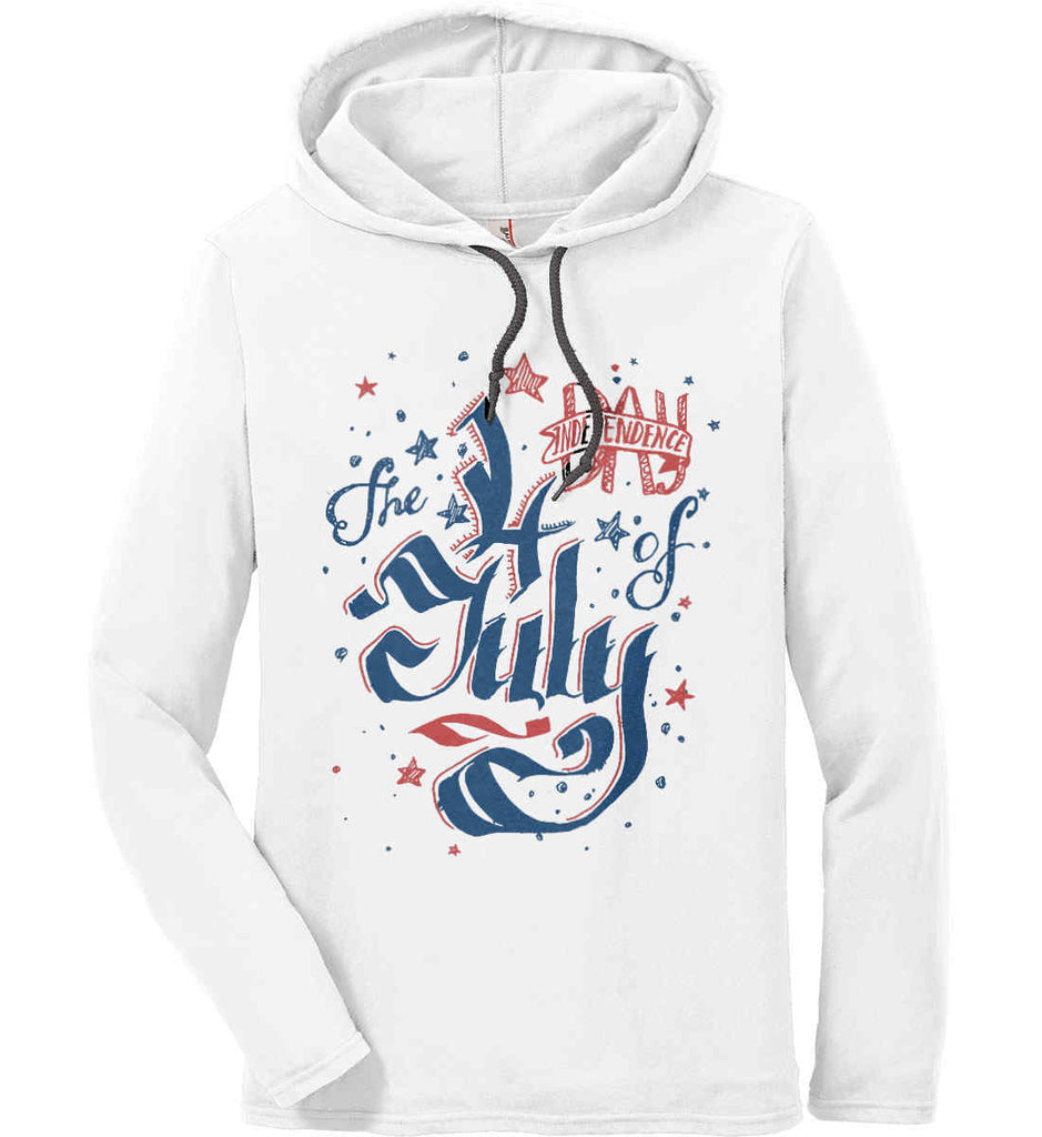 The 4th of July. Ribbon Script. Anvil Long Sleeve T-Shirt Hoodie.-1