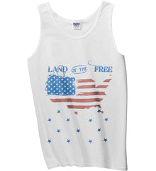 Land of the Free. Gildan 100% Cotton Tank Top.