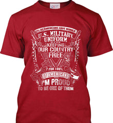 7% of Americans Have Worn a Military Uniform. I am proud to be one of them. White Print. Port & Co. Made in the USA T-Shirt.