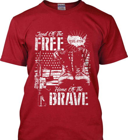 Land Of The Free. Home Of The Brave. 1776. White Print. Gildan Ultra Cotton T-Shirt.