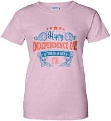 Happy Independence Day. Fourth of July. 1776. Women's: Gildan Ladies' 100% Cotton T-Shirt.
