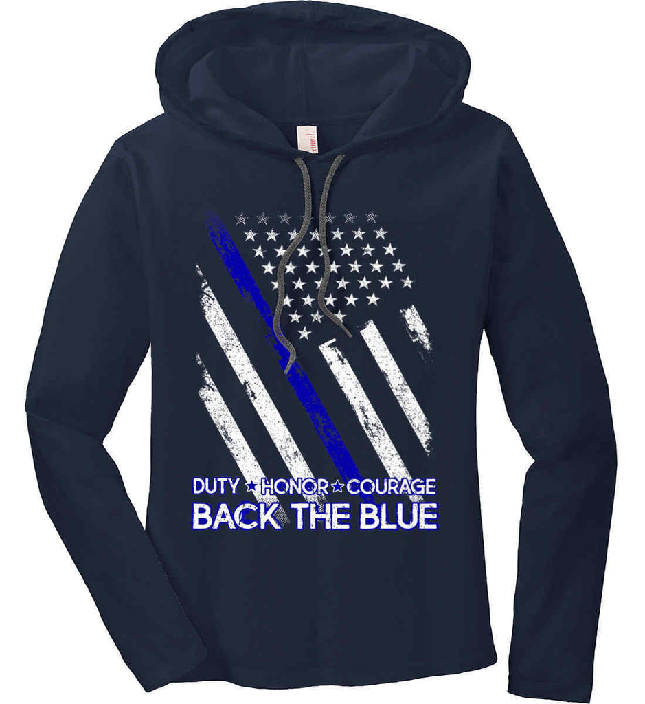 8858bfca Back The Blue. Women's: Long Sleeve Hoodie T-Shirt. Law Enforcement ...