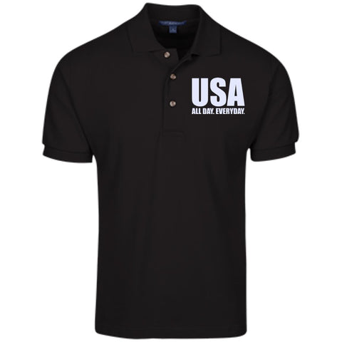 USA. All Day. Everyday. White Text. Port Authority Cotton Pique Knit Polo. (Embroidered)