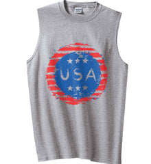 Grungy USA. Gildan Men's Ultra Cotton Sleeveless T-Shirt.