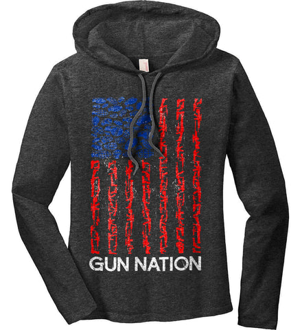 Gun Nation. Women's: Anvil Ladies' Long Sleeve T-Shirt Hoodie.