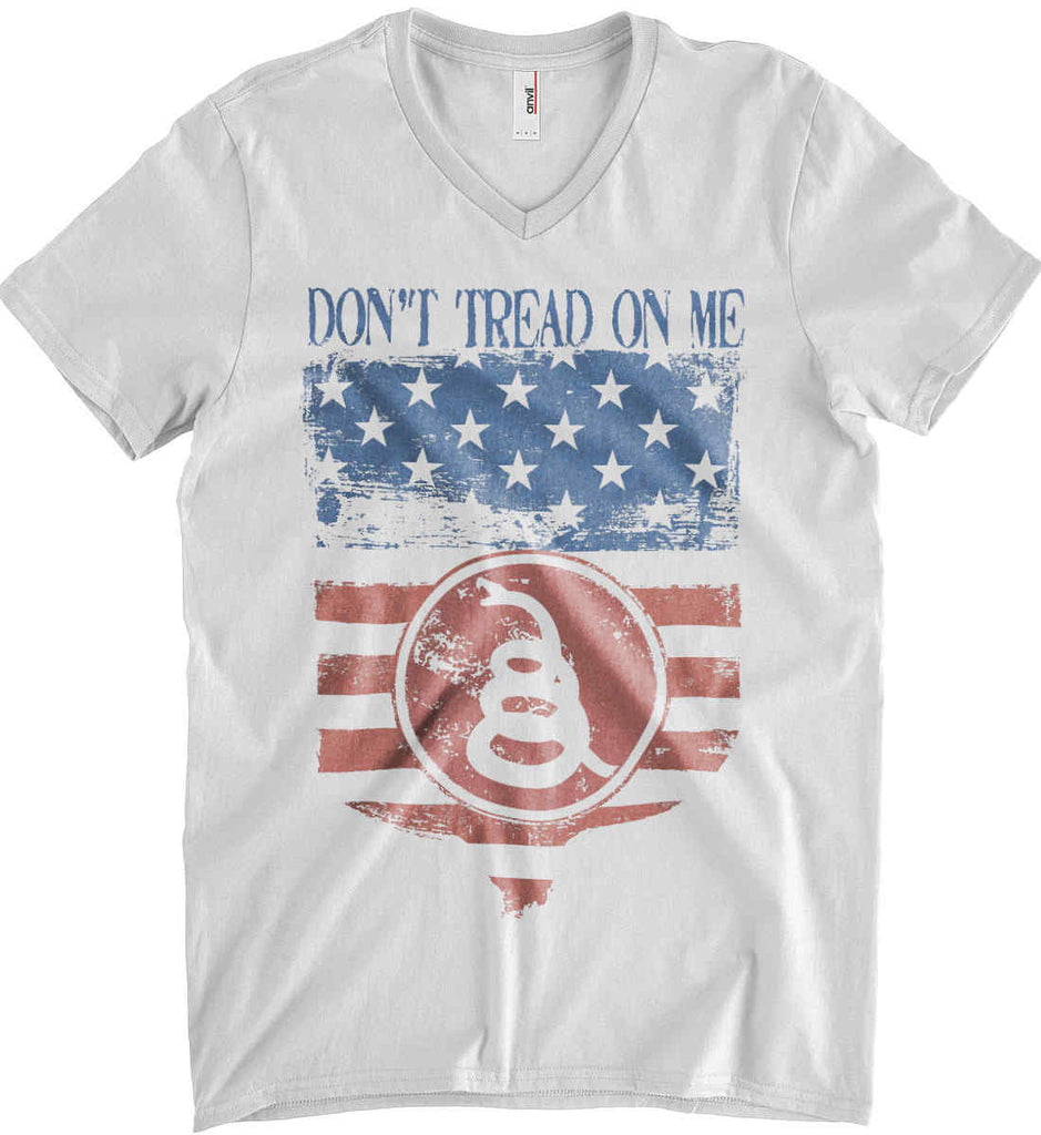 Don't Tread on Me. Rattlesnake. Faded Grunge Shield Anvil Men's Printed V-Neck T-Shirt.-1