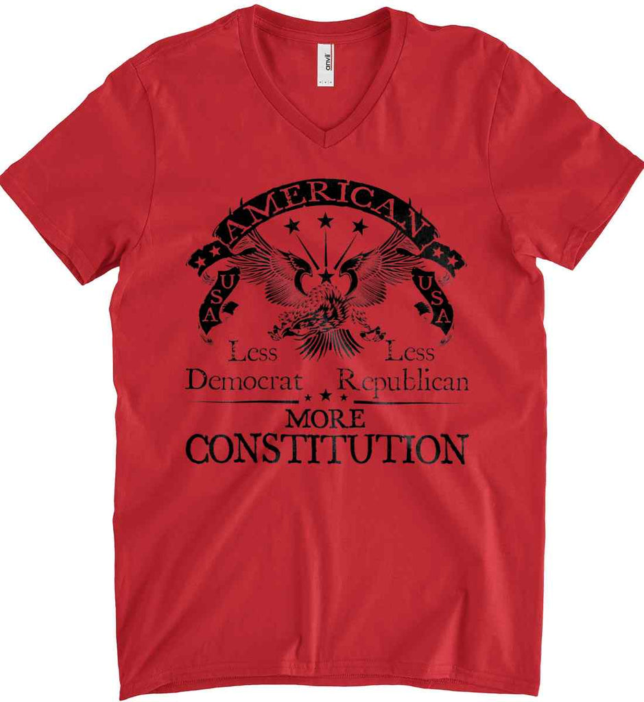 America: Less Democrat - Less Republican. More Constitution. Black Print Anvil Men's Printed V-Neck T-Shirt.-2