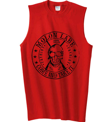 Molon Labe. Come and Take. Skull. Black Print Gildan Men's Ultra Cotton Sleeveless T-Shirt.