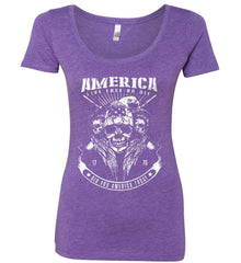 Did you America Today. 1776. Live Free or Die. Skull. White Print. Women's: Next Level Ladies' Triblend Scoop.