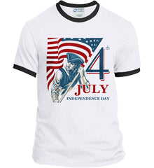 Patriot Flag. July 4th. Independence Day. Port and Company Ringer Tee.