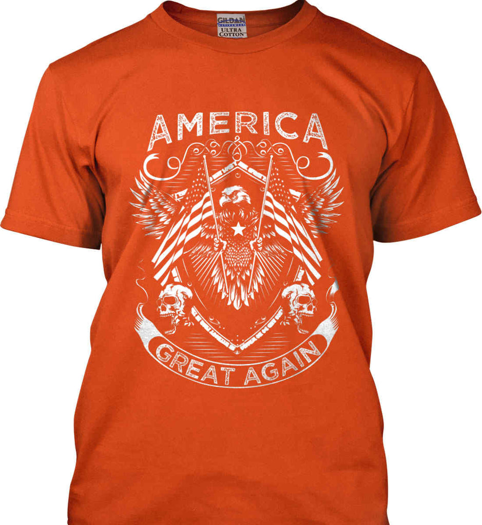 America. Great Again. White Print. Gildan Ultra Cotton T-Shirt.-6