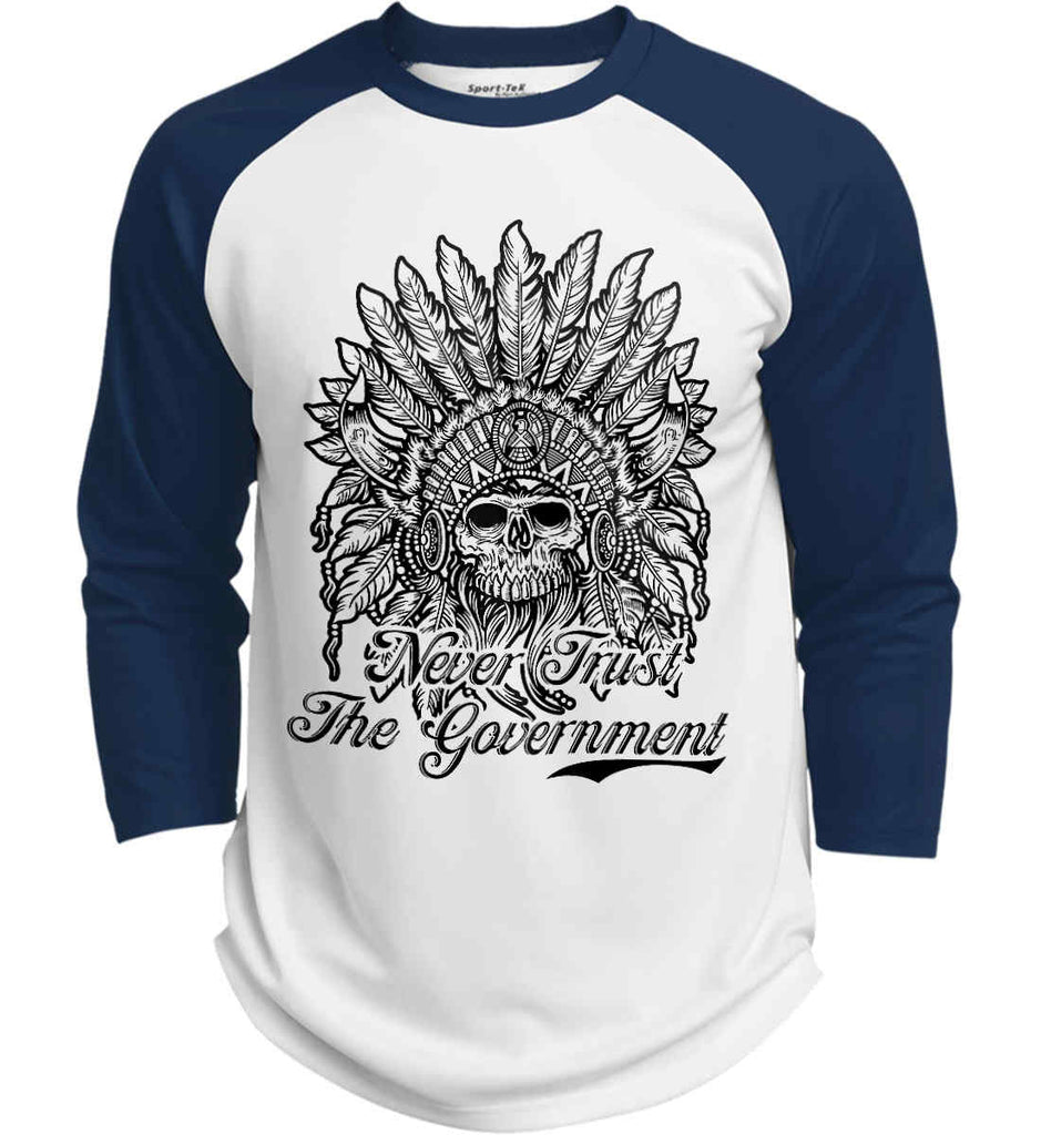 Skeleton Indian. Never Trust the Government. Sport-Tek Polyester Game Baseball Jersey.-5