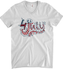 July 4th Red, White and Blue. Anvil Men's Printed V-Neck T-Shirt.