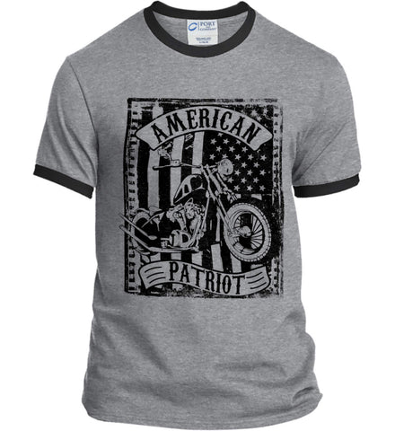 American Patriot - Flag/Rider. Black Print. Port and Company Ringer Tee.