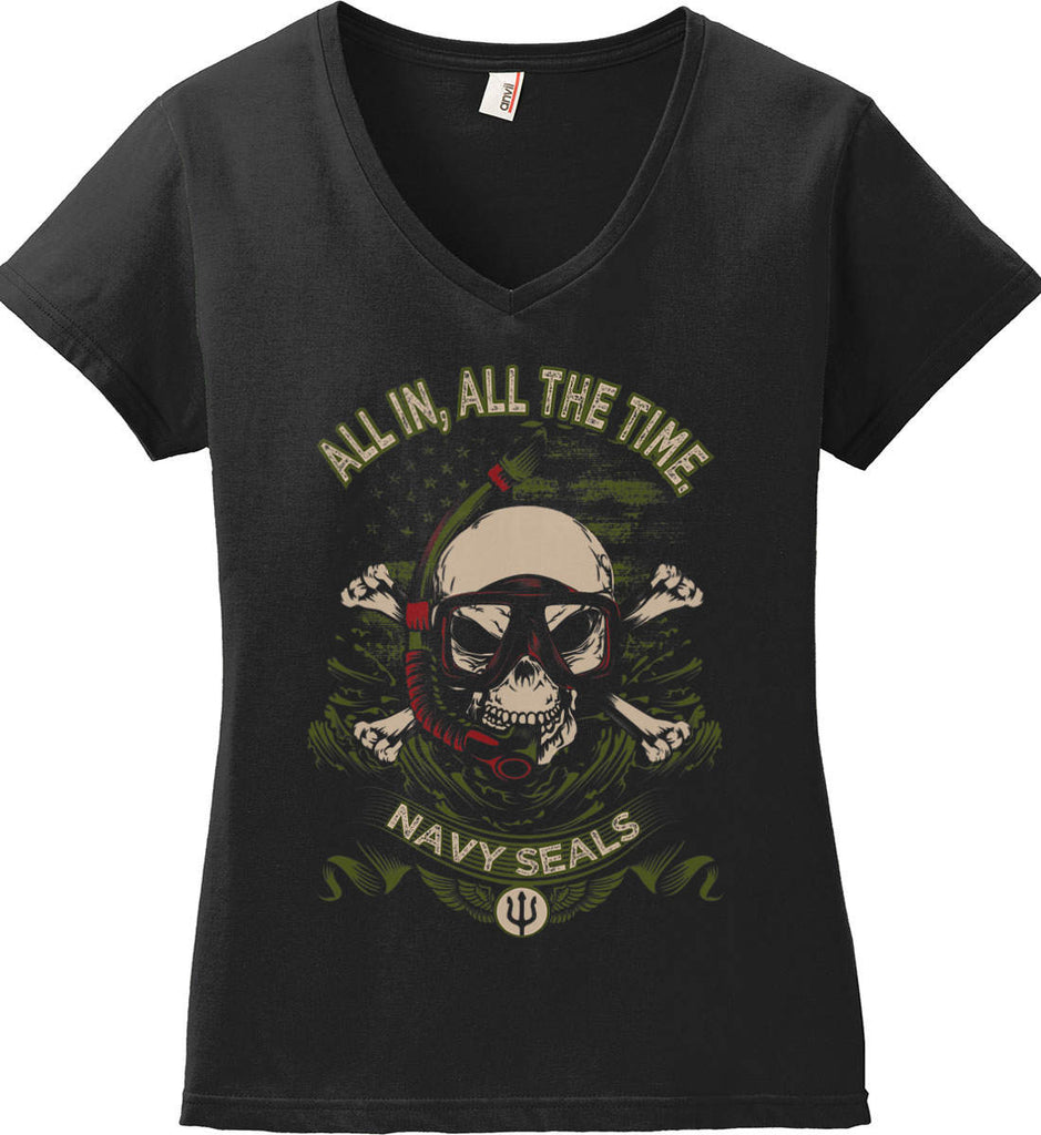 All In, All The Time. Navy Seals. Women's: Anvil Ladies' V-Neck T-Shirt.-1