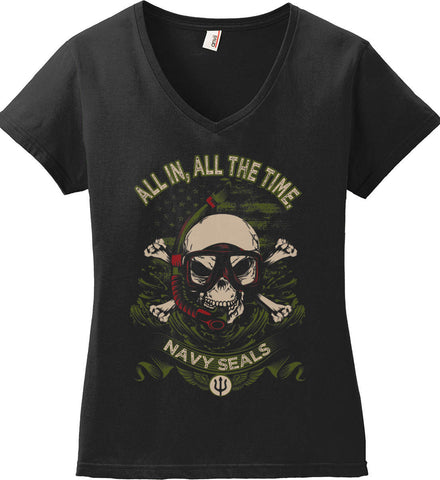 All In, All The Time. Navy Seals. Women's: Anvil Ladies' V-Neck T-Shirt.