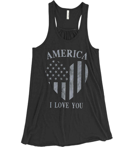 America I Love You Women's: Bella + Canvas Flowy Racerback Tank.