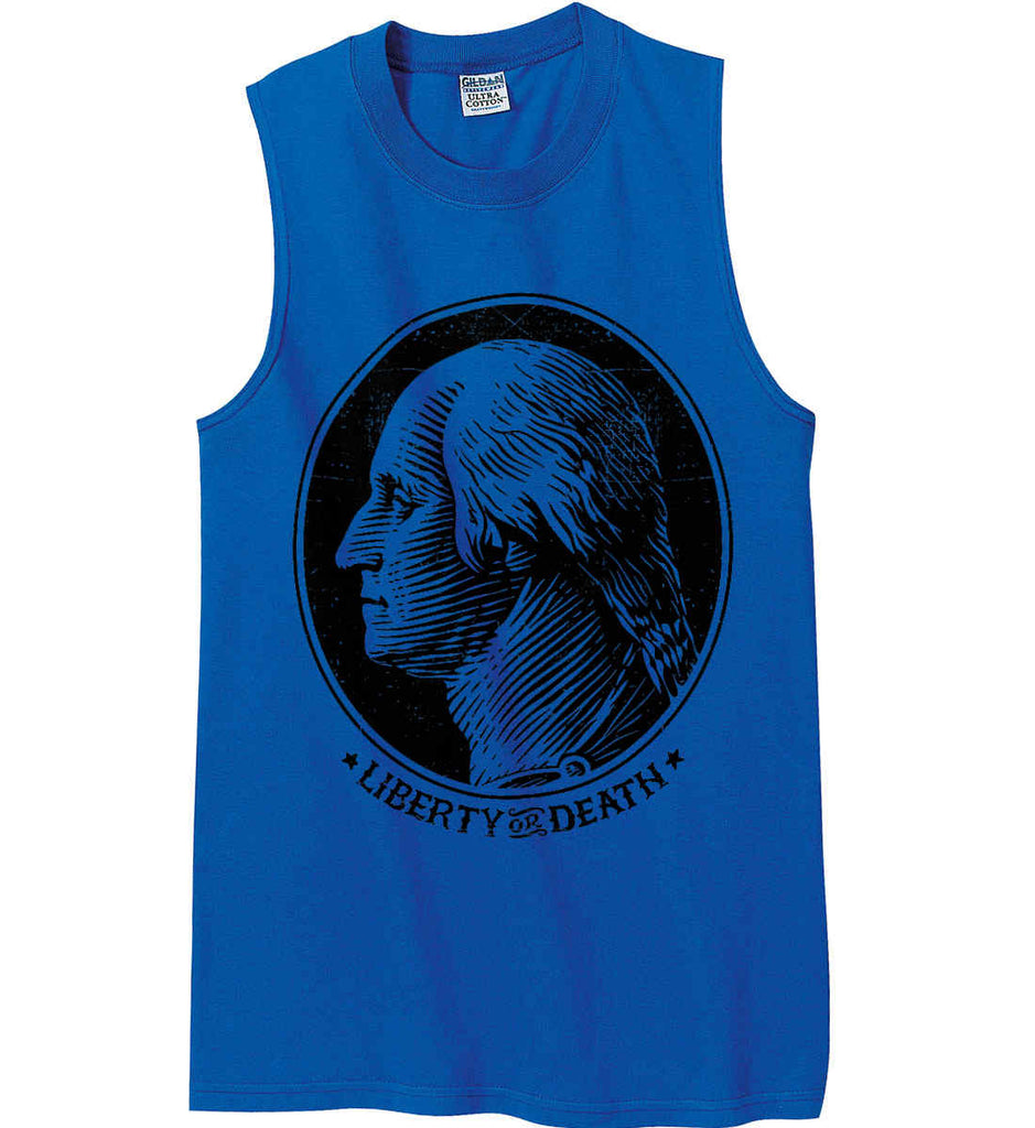 George Washington Liberty or Death. Black Print Gildan Men's Ultra Cotton Sleeveless T-Shirt.-3