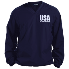 USA. All Day. Everyday. White Text. Sport-Tek Pullover V-Neck Windshirt. (Embroidered)