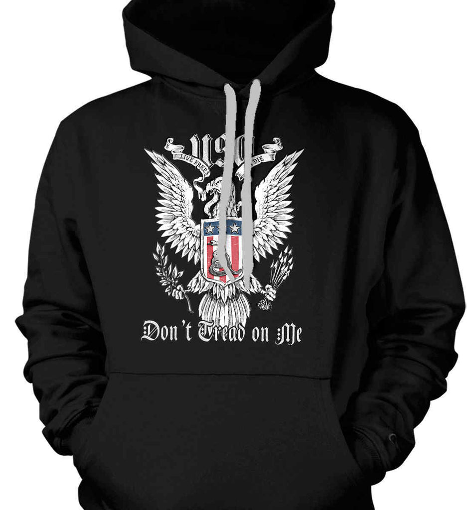 Don't Tread on Me. Eagle with Shield and Rattlesnake. Gildan Heavyweight Pullover Fleece Sweatshirt.-3