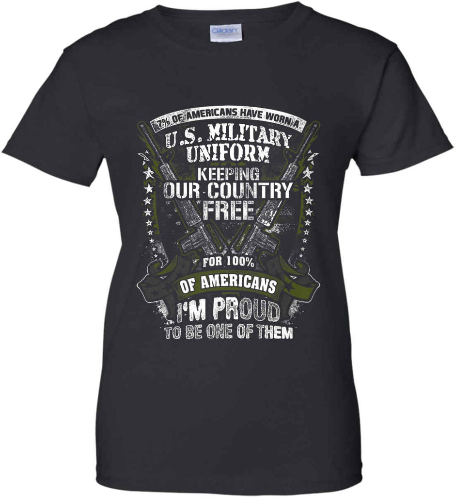 7% of Americans Have Worn a Military Uniform. I am proud to be one of them. Women's: Gildan Ladies' 100% Cotton T-Shirt.-1