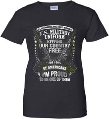 7% of Americans Have Worn a Military Uniform. I am proud to be one of them. Women's: Gildan Ladies' 100% Cotton T-Shirt.