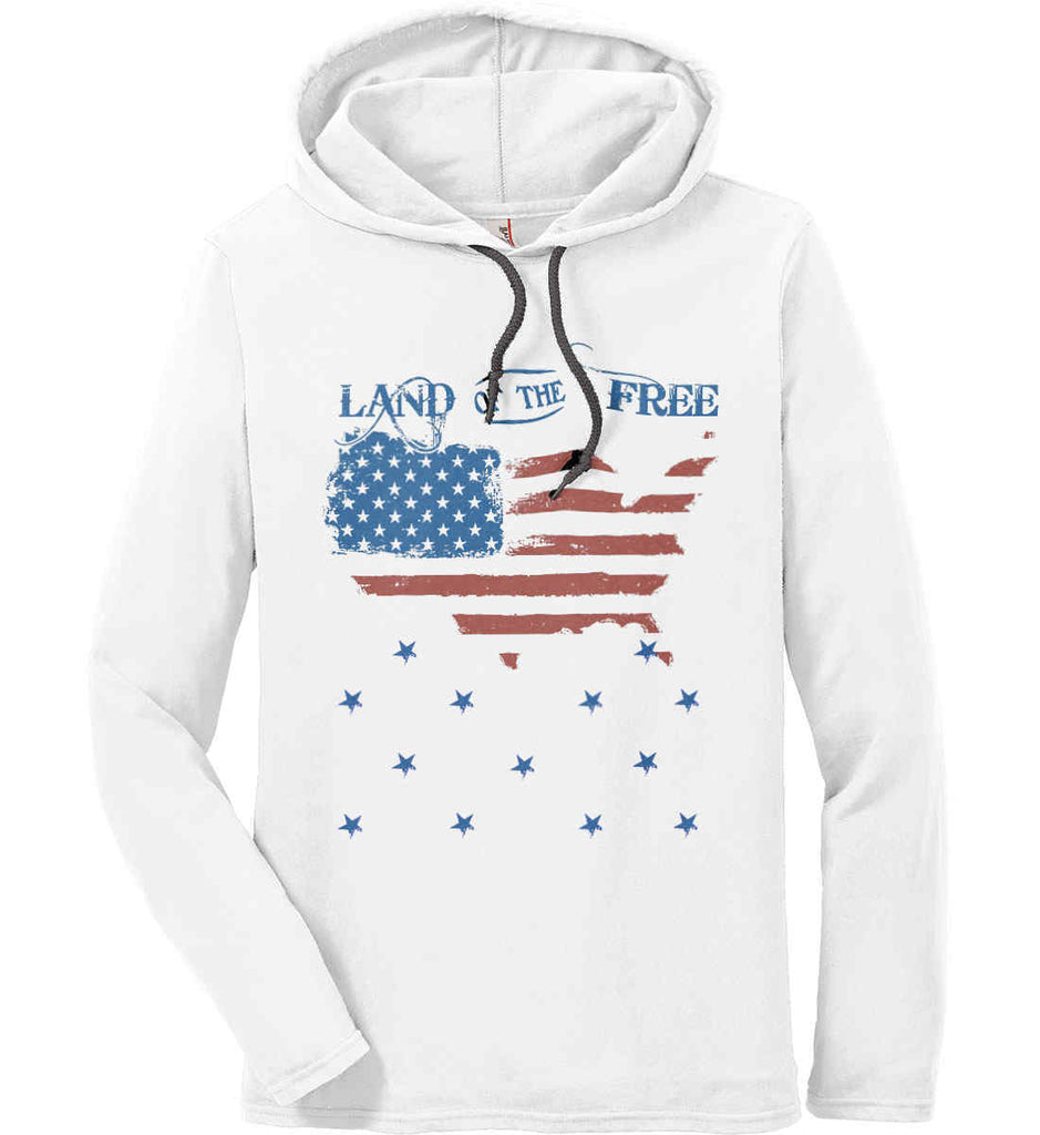 Land of the Free. Anvil Long Sleeve T-Shirt Hoodie.-1