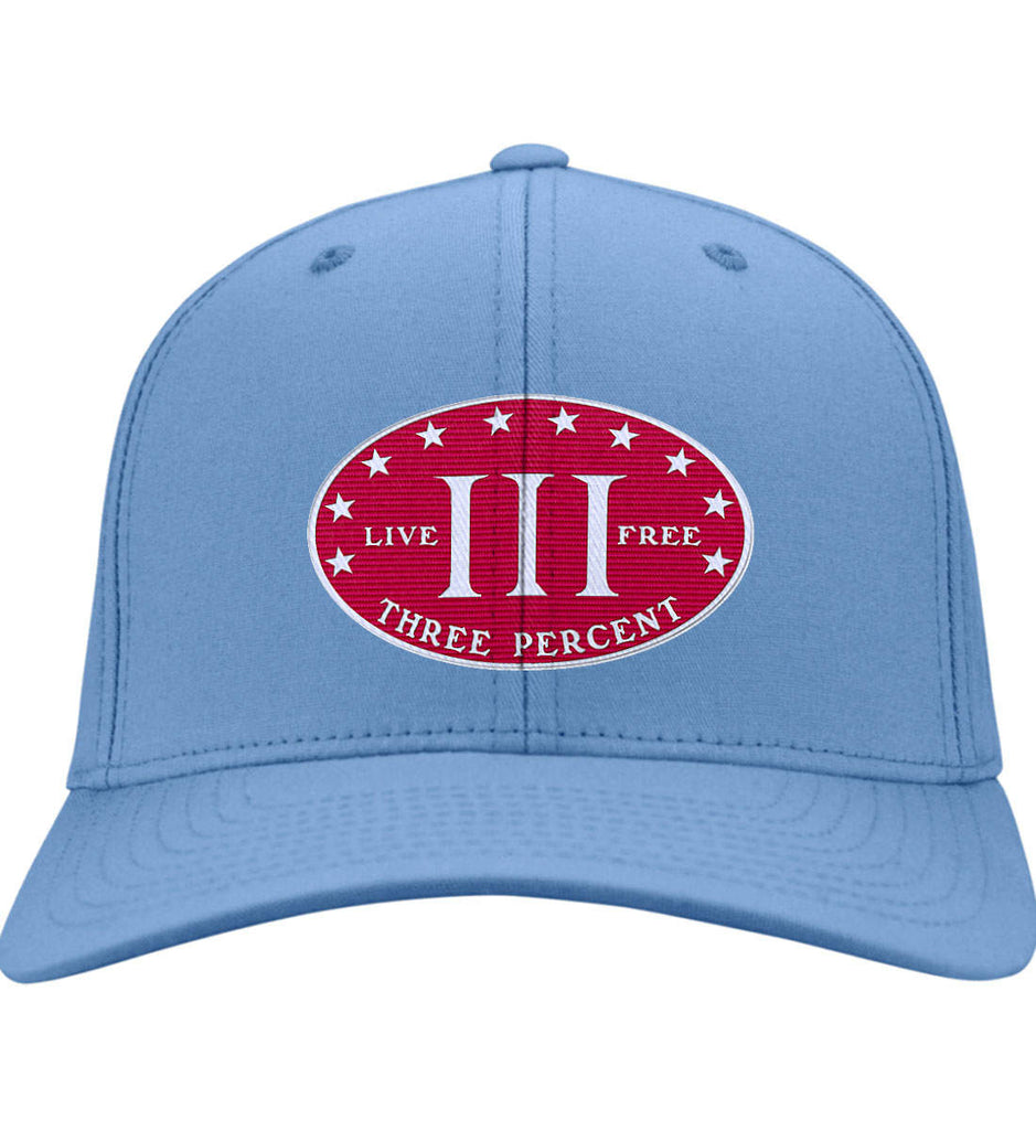 Three Percenter. Live Free. Hat. Port & Co. Twill Baseball Cap. (Embroidered)-4