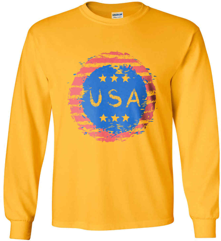 Grungy USA. Gildan Ultra Cotton Long Sleeve Shirt.-5