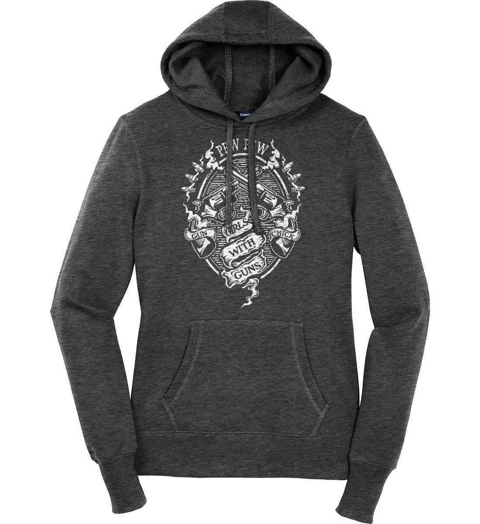 Pew Pew. Girls with Guns. Gun Chick. Women's: Sport-Tek Ladies Pullover Hooded Sweatshirt.-2