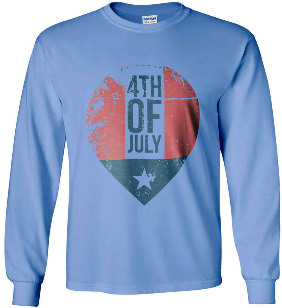 4th of July with Star. Gildan Ultra Cotton Long Sleeve Shirt.-7