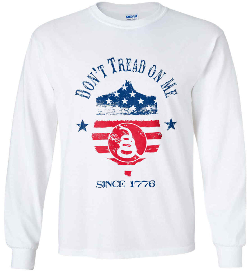 Don't Tread on Me. Snake on Shield. Red, White and Blue. Gildan Ultra Cotton Long Sleeve Shirt.-1