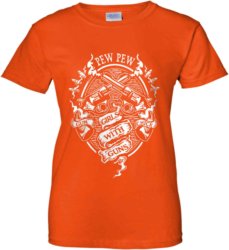 Pew Pew. Girls with Guns. Gun Chick. Women's: Gildan Ladies' 100% Cotton T-Shirt.-12
