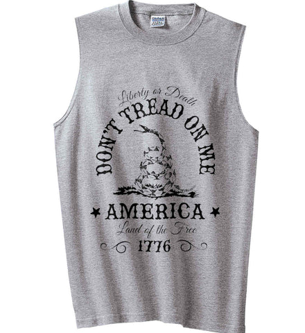 Don't Tread on Me. Liberty or Death. Land of the Free. Black Print. Gildan Men's Ultra Cotton Sleeveless T-Shirt.