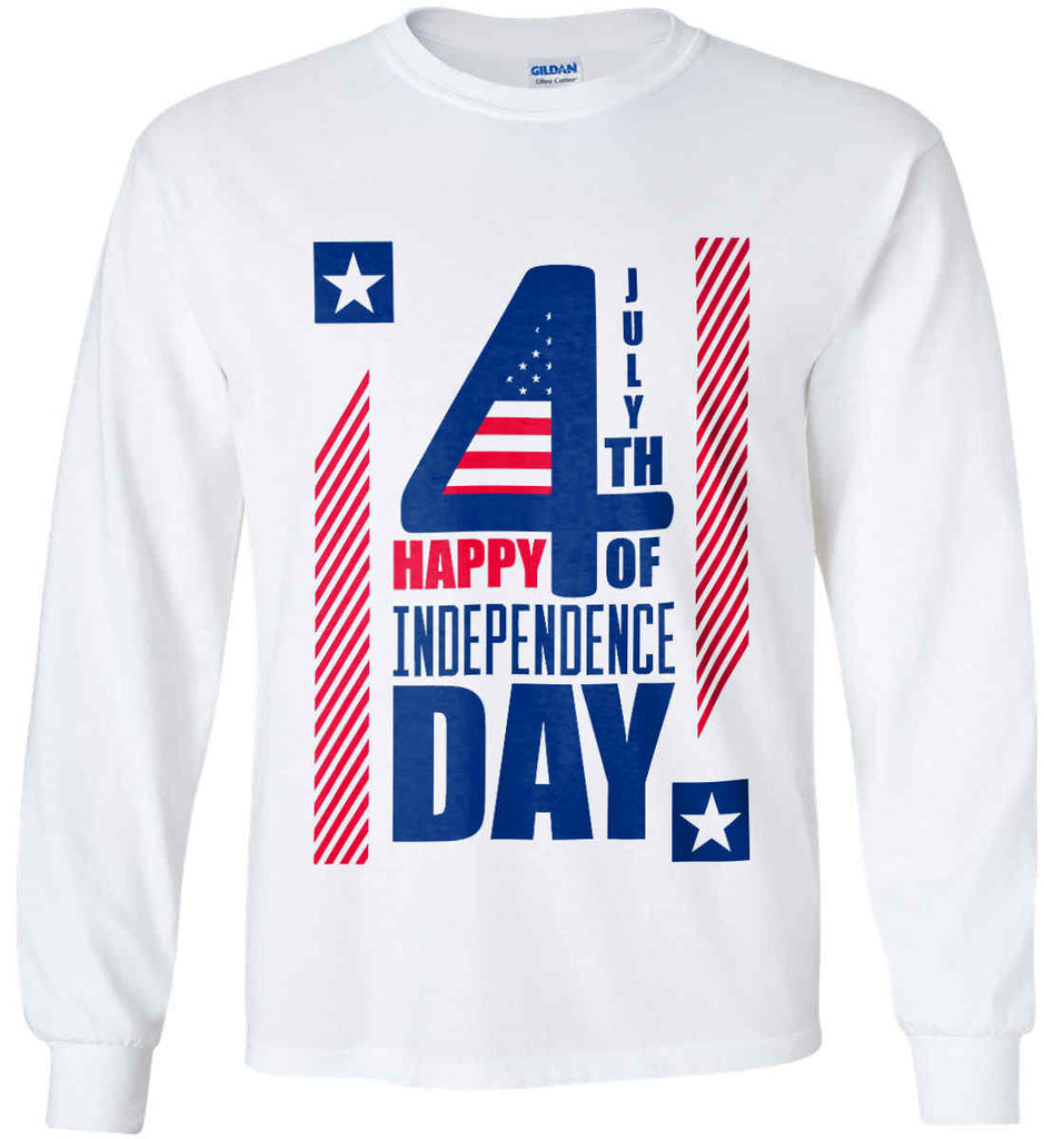4th of July with Stars and Stripes. Gildan Ultra Cotton Long Sleeve Shirt.-1