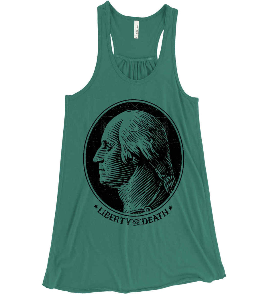 George Washington Liberty or Death. Black Print Women's: Bella + Canvas Flowy Racerback Tank.-4