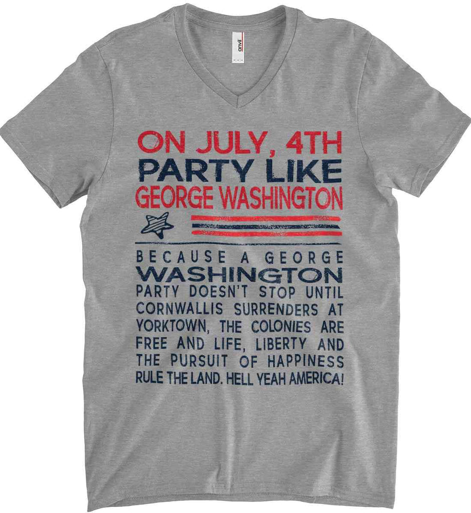 On July, 4th Party Like George Washington. Anvil Men's Printed V-Neck T-Shirt.-1