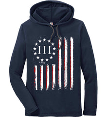 Three Percent on American Flag. Anvil Long Sleeve T-Shirt Hoodie.